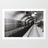 Train Station Black & White Photography Art Print