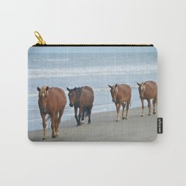 Outer Banks, Corolla, NC OBX Wild Horses Walking on the Beach  Carry-All Pouch
