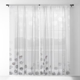 Silver and White Sheer Curtain