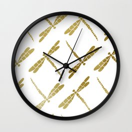 Watercolor Libellule - Gold Palette Wall Clock