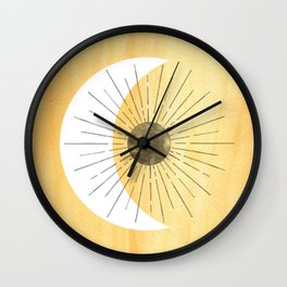 Yellow sun and moon Wall Clock