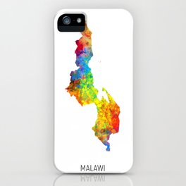 Malawi Watercolor Map iPhone Case