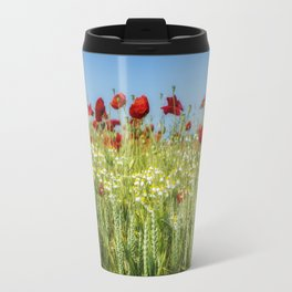 Wheat Field Poppies Travel Mug