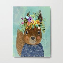 Squirrel with floral crown Metal Print
