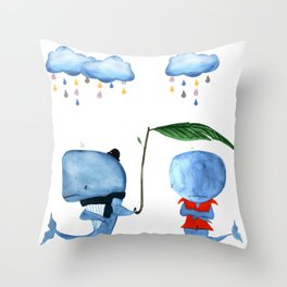 Adorable Whales - PAINTED Throw Pillow