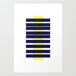 Blue & Yellow Stripe Abstract Print Art Print