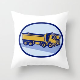 DumpTruck Oval Woodcut Throw Pillow
