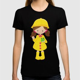 Girl In Raincoat, Boots, Brown Hair, Frog T-shirt