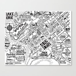 Cleveland Ohio Map Canvas Print