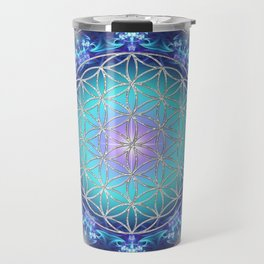 Flower Of Life Mandala Fractal turquoise Travel Mug
