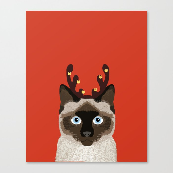 Siamese Cat Reindeer Costume funny cat art for cat lady gift for the ...