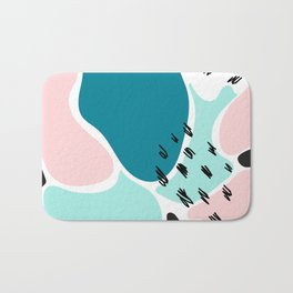 Blue Abstract Shapes Memphis Style Bath Mat