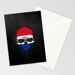 Flag of Paraguay on a Chaotic Splatter Skull Stationery Cards