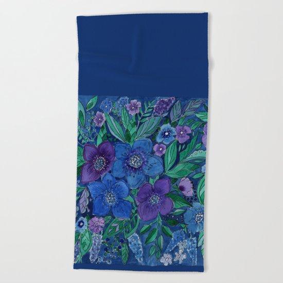 Watercolor . Blue flowers . Beach Towel