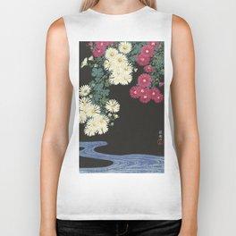 Chrysanthemums and Running Water Biker Tank