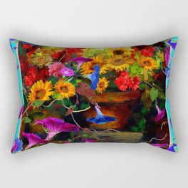 Blue Morning Glories Floral Still life Rectangular Pillow