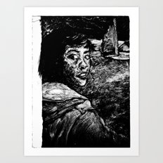 monoprint of girl Art Print