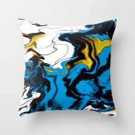 Dreamscape 01 in Blue, White & Gold Throw Pillow