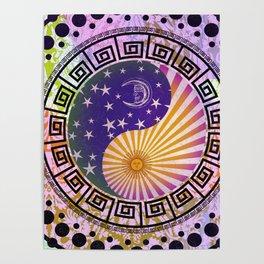 Vintage Sun Moon & Stars Yin & Yang Poster
