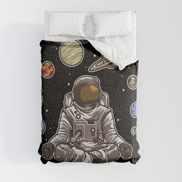 Yoga Astronaut Meditates In Space And feels The Galaxy Comforters