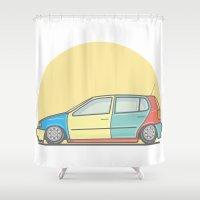 volkswagen Shower Curtains featuring Volkswagen Polo 6n Harlequin vector illustration by Underground Worm