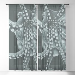 Green Octopus Tentacles Teal Colored Pencil Sheer Curtain