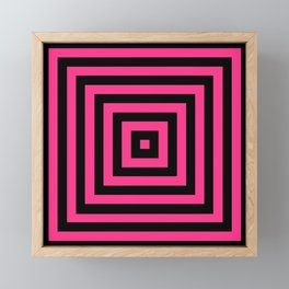 GRAPHIC GRID BOX SWIRL ABSTRACT DESIGN (BLACK AND HOT PINK) SERIES 6 OF 6 Framed Mini Art Print