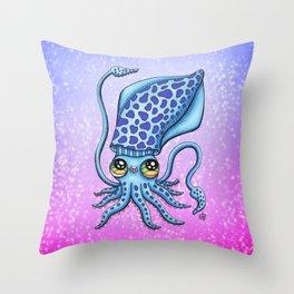 Happy Squid Throw Pillow