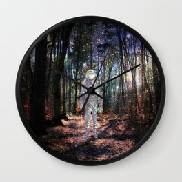 Spaceman in the Forest Wall Clock