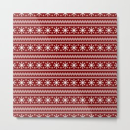 Dark Christmas Candy Apple Red Snowflake Stripes in White Metal Print