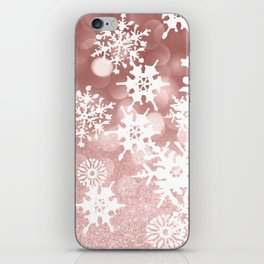 Winter white rose gold snowflakes glitter bokeh iPhone Skin