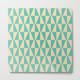 Mid Century Modern Geometric 312 Seafoam and Yellow Metal Print