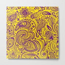 Deep purple over yellow vintage paisley pattern Metal Print