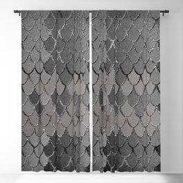 Mermaid Scales Silver Gray Glam #1 #shiny #decor #art #society6 Blackout Curtain