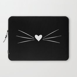 Cat Heart Nose & Whiskers White on Black Laptop Sleeve