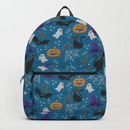 Halloween party illustrations teal modern realistic embroidery Backpack