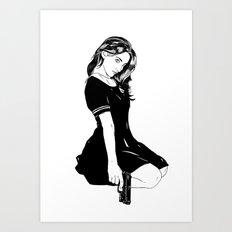 Girl With Gun Art Print