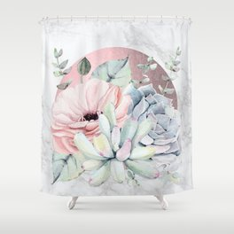 Pretty Succulents Marble + Rose Gold Sun Shower Curtain