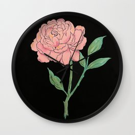 Peony on black Wall Clock