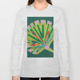Fan Leaf in Green Long Sleeve T-shirt