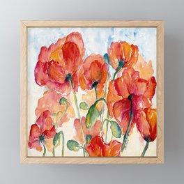 Tangerine Orange Poppy field WaterColor by CheyAnne Sexton Framed Mini Art Print