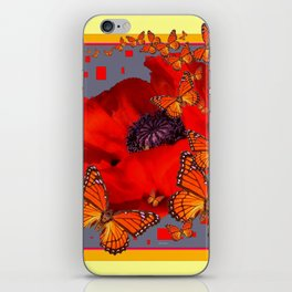 Abstract Red Poppy Monarch Butterflies Yellow-Grey iPhone Skin