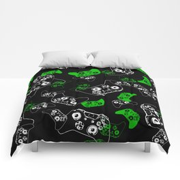 Video Game Black & Green Comforters