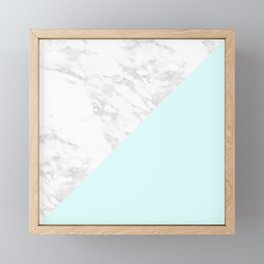 White Marble with Pastel Blue and Grey Framed Mini Art Print