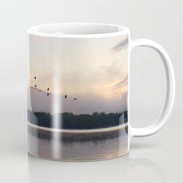 Lifting Up: Geese Rise at Dawn on Lake George Coffee Mug