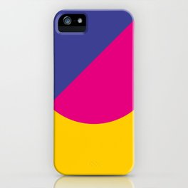 Black sky. The yellow sun is hidden by an half purple half violet Ufo. iPhone Case