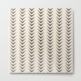 Cocoa Bisque Chevron Line Mid-Century Shapes Metal Print