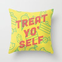 treat yo self Throw Pillows featuring Treat Yo' Self by Zeke Tucker
