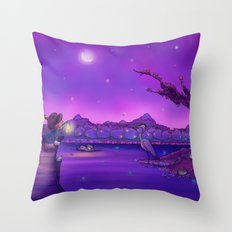 The Unexpected Visitor purple sky Throw Pillow
