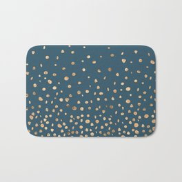 Chic Gold and Teal Rising Confetti Bath Mat